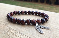 Red Tiger Eye Beaded Bracelet with Silver Feather Charms by HarleysJewellery on Etsy