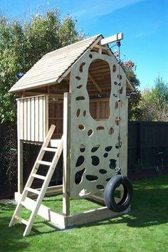 Love this climbing wall.no hand holds to fasten onto and the tire swing/ rope climber.makes more sense. Best Selection NZ Made Childrens Playhouse Playhouses kids play area clubhouses Backyard Fort, Backyard Playground, Backyard For Kids, Backyard Projects, Diy For Kids, Forts For Kids, Kid Forts, Kids Fun, Kids Outdoor Play
