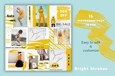 Bright Strokes - Social Media Pack by Julia Orlova Instagram Design, Free Instagram, Instagram Posts, Instagram Feed, Publication Facebook, Template Web, Web Design, Graphic Design, Instagram Post Template