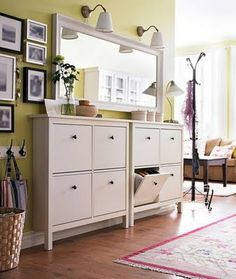 Entryway narrow storage cabinet from IKEA. I like this idea and could use it in my apartment now