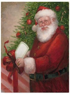Trademark Global Mary Miller Veazie 'Santa With A Gift' Canvas Art - 35 x 47 Christmas Scenes, Christmas Pictures, Christmas Art, Christmas Holidays, Christmas Decorations, Xmas Pics, Santa Pictures, Illustration Noel, Illustrations