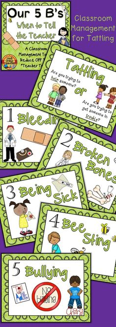 "Tired of your students running up and telling you every little thing? Trouble with tattling? Do you have students that need a Band-Aid for a teeny-tiny speck? Teach your students the 5 B's! The 5 B's is a classroom management tool meant to reduce off task ""teacher telling"" and tattling. The 5 B's help your students know when it's appropriate to go to the teacher and what things a teacher needs to know about. $"