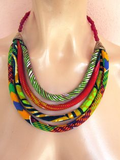 COLORFUL RED  African wax print BIB necklace recycled by nad205, $35.00