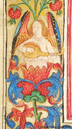 Angel, playing lute | Book of Hours | Netherlands | ca. 1485-1495 | The Morgan Library & Museum