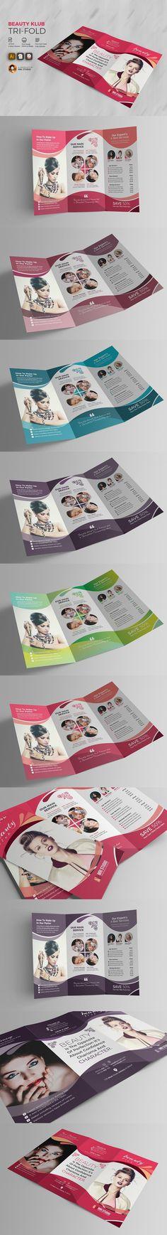 Beauty Club Salon Tri-Fold. Brochure Templates