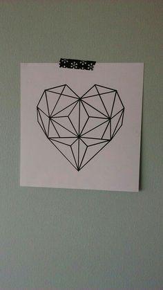 Geometric heart für Leinwand --> darunter i love you more every day oder love i.Geometric heart for canvas -> i love you more every day or love is saying Heart Tattoo, Body Art Tattoos, Tattoos, Geometric Drawing, Trendy Tattoos, Geometric Heart, Geometric Tattoo, Geometric Heart Tattoo, Tattoo Designs