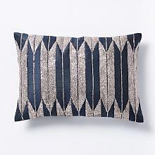 Silken Metallic Arrow Pillow Cover - Navy