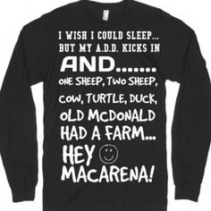 I Wish I could sleep but. long sleeve black tee t shirt-T-Shirt from Skreened - Christmas T Shirt - Ideas of Christmas T Shirt - I Wish I could sleep but. long sleeve black tee t shirt-T-Shirt from Skreened Sarcastic Shirts, Funny Shirt Sayings, T Shirts With Sayings, Funny Tees, Cool T Shirts, Funny Quotes, Shirt Quotes, Funny Humor, Funny Food