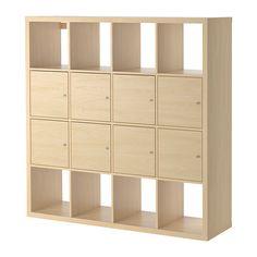 IKEA - KALLAX, Regal mit 8 Einsätzen, Birkenachbildung,
