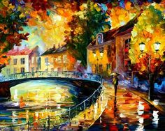 Leonid Afremov is a Belarus born, Israeli modern painter who creates unique landscapes, cityscapes and figures using a palette knife rather than a brush to paint.