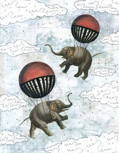Elephant Art Print Animal Illustration Balloon Painting Animal Painting Mixed Media Collage Giclee Art Reproduction by sarahogren on Etsy https://www.etsy.com/listing/88986397/elephant-art-print-animal-illustration