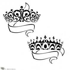 Prince Princess Crowns Tattoo, but this would make really pretty wall art