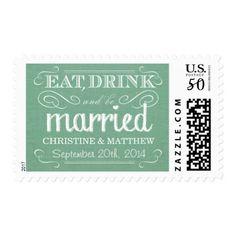 Rustic Burlap Mint Green Wedding Postage