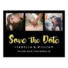 #Elegant Black Gold Foil Photo Save the Date Postcard - #savethedate #wedding #love #card #cards #invite #invitation
