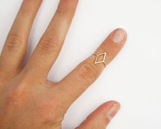 Gold Diamond Shape Ring, Thin Gold Ring, Simple Ring, Geometric Shape, Pinky Ring, Midi, Knuckle Ring