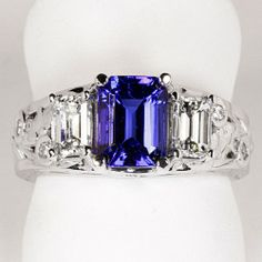 Tanzanite Ring Designed By Christopher Michael 1.88 Carat BVE Color