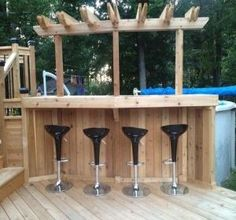 Ideas Patio Piscine Hors Terre Design For 2019 Above Ground Pool Landscaping, Above Ground Pool Decks, Backyard Pool Landscaping, Backyard Bar, Pergola Patio, In Ground Pools, Pergola Kits, Cheap Pergola, Gazebo