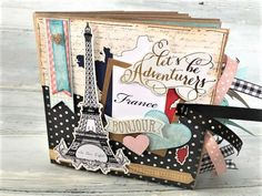 Paris France photo album made from paper bags. Handmade mini scrapbook by A Picket Fence Life Paper Bag Scrapbook, Scrapbook Albums, Scrapbook Supplies, Scrapbooking Layouts, Style Scrapbook, Vacation Scrapbook, Washi, How To Make A Paper Bag, Mini Photo Albums