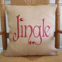Jingle Pillow Christmas pillow burlap Pillow by KelleysCollections #diypillowcoverschristmas