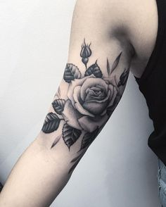 Rose flower sleeve tattoo by lazerliz