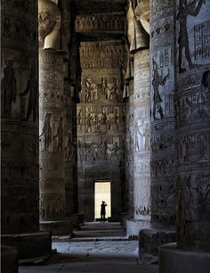 Some elements that define this Ancient Egyptian temple are the carved pictograms of gods and the after life on the monumental stone columns and walls.