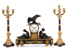 Large mantle set with clock and two candelabras Height of the candelabras: 67 cm. Height of the clock: ca. With one pendulum and without key. Antique Pendulum Wall Clock, Antique Wall Clocks, Vintage Clocks, Classic Clocks, Wall Clock Online, Clocks For Sale, Old Wall, Bronze, Mantle