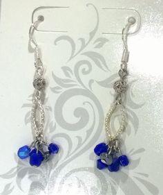 Silver & Blue Dangling Bead Cluster Earrings by mistydlee on Etsy, $8.00