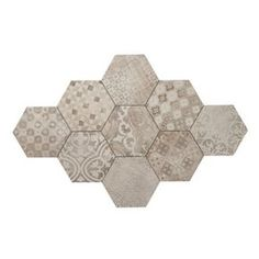 "4.96 SF 16 Pack 8"" x 7"" Assorted Patterns Cementine Pixel Hexagon Porcelain Tiles"