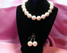 Soft Pink giant fashion shell pearl necklace & earring set, hand-knotted rhodium plated CZ studded magnetic clasp sterling silver earwires - Edit Listing - Etsy