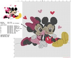 Valentine's Day cross stitch pattern Disney Minnie and Mickey in love