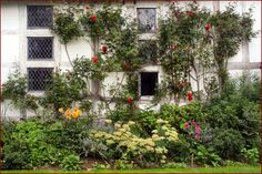 Climbing plants adorn the timber-framed walls of Lower Brockhampton Manor in Herefordshire.