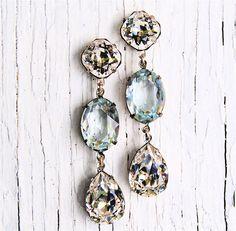 Bridal Earrings - Something Blue - Swarovski Clear Diamond and Light Aquamarine Large Rhinestone Dangle Earrings - Jewelry by Mashugana. $74.50, via Etsy.