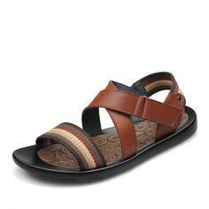 1339c957670fc 2015 Genuine Leather Men Sandals Summer Fashion Sandalias Hombre Designer Man  Beach Zapatos Black Brown Size