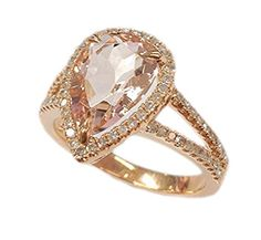 $628 Pear Morganite Engagement Ring Pave Diamond Wedding 14K Rose Gold 8x12mm,Claw Prongs LOGR-Morganite Rings http://www.amazon.com/dp/B00V64IJ0C/ref=cm_sw_r_pi_dp_NdY9wb1NW6ESM