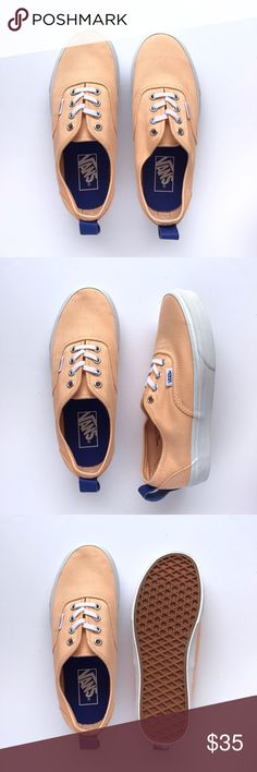 New Vans Peach Authentic Never been worn, peach uppers, true white sole and royal blue leather heel pull tab. W/O box. Women's size 7 / Men's size 5.5 Vans Shoes Sneakers