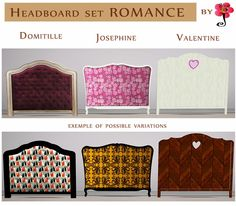 """""""Romance"""" headboard set by annej .   To mix and mach with the """"All for Beds"""" set.   One model is fully recolorable. Available for double an..."""