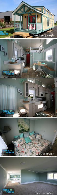 The Dee Dee: the perfect home for those looking to downsize without going too tiny! It features a wide, open layout with 400 sq ft of space and two bedrooms! Designed and built by Titan Tiny Homes #tinyhousedesign