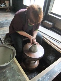 Pat Southwood throwing on Shoji Hamada's kick wheel at Euan Craigs' Pottery in Minakami, Japan.  Source is Pat's website.