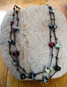 Glass Bead Necklace on Irish Waxed Linen