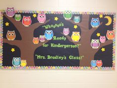 Kindergarten Owl Beginning of the Year Bulletin board I made for @ElizabethBradley