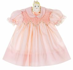 Polly Flinders Pink Smocked Dress with Pastel Embroidered Flowers