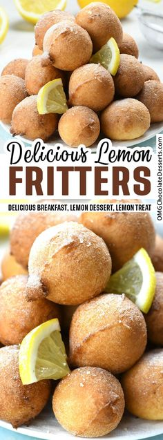 Lemon Fritters are light as a cloud and full of lemon aroma Its a great breakfast idea for spring days and a sweet way to finish your brunch. Lemon Desserts, Lemon Recipes, Delicious Desserts, Dessert Recipes, Top Recipes, Dessert Ideas, Cake Recipes, Great Breakfast Ideas, Breakfast Dessert