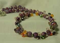 Mother of Pearl Purple Necklace with Crystals by jewelrysldesigns, $27.95