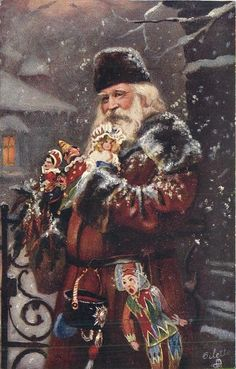Vintage Santa Claus - Santa Claus - Vintages Cards - Christmas Wallpapers, Free ClipArt for Xmas, Icon's, Web Element, Victorian Christmas Photos and Vintage Santa Claus pictures Old World Christmas, Old Fashioned Christmas, Christmas Scenes, Christmas Past, Father Christmas, Christmas Greetings, Christmas Postcards, Christmas Holidays, Xmas