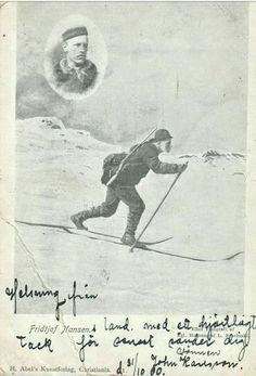 Fridtjof Nansen på ski. Utg Abels kunstforlag brukt 1900