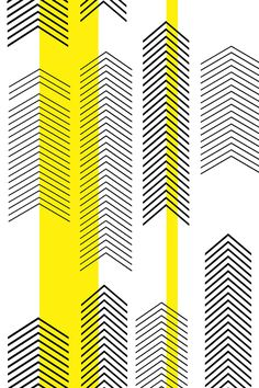 chevron stripe in yellow by cristinapires - Black arrows on a white background with bold yellow stripes on fabric, wallpaper, and gift wrap. Bold, modern, geometric design.