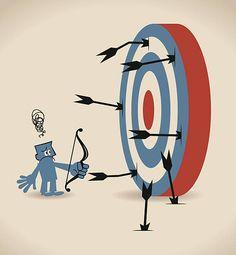 Uomo anziano depresso Uomo d'affari di tiro con arco e freccia, obiettivo di frecce perdere - illustrazione arte vettoriale