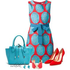 Red and Turquoise Dress by imclaudia-1 on Polyvore featuring moda, P.A.R.O.S.H., Gianvito Rossi, Michael Kors, Valextra and Ten Thousand Things