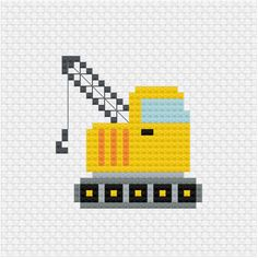 This crane cross stitch pattern is latest addition to the yellow construction vehicle set for my patrons Yellow crane cross stitch pdf pattern - Ringcat #crossstitchpattern #crane #constructionvehicle Small Cross Stitch, Cross Stitch Designs, Cross Stitch Patterns, Cross Stitching, Cross Stitch Embroidery, Galaxy Pattern, Knitting Charts, Christmas Cross, Pixel Art