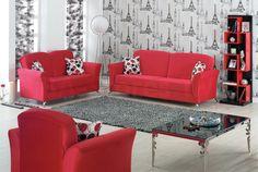 Roma 3 PC Red Microfiber Sofa Set (Sofa, Loveseat and Chair)